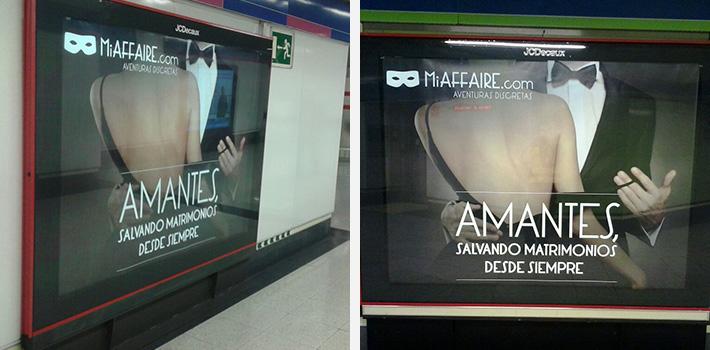 carteles en el metro de Madrid